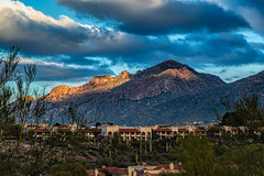 Tucson Sunrise (docoverachiever) Tags: city mountains sunrise buildings desert catalinas santacatalinamountains arizona clouds cacti scenery tucson