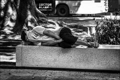 Sieste douillette... / Comfortable siesta (vedebe) Tags: ville city rue street urbain urban homme people humain human banc bench espagne noiretblanc netb nb bw monochrome société