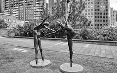 Ballet Dancers (John Hewitt 7) Tags: luminosity7 nikond850 bw blackandwhite monochrome davidmaughan lesbellehélène publicart sculpture ballet australianballet dancers melbourne australia artinbw