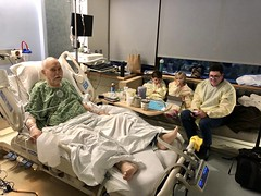 The twins and Keith visit Grandpa Jim in the hospital