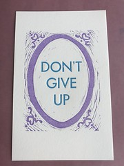 Don't give up print (artnoose) Tags: goth frame patreon subscription club month etsy type up give don't blue letterpress print linoblock purple
