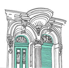 Fancy Entrance. Kaiserallee. Karlsruhe. January 2020 (stevefaradaysketches) Tags: architecture buildings entrance doors victorian karlsruhe inkdrawing illustration urbansketch urbansketchers usk marypoppinscafe