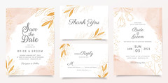 Watercolor creamy wedding invitation card template set with golden floral decoration. Abstract background save the date, invitation, greeting card, multi-purpose vector (HireHtmlCoder) Tags: wedding invitation flowers template card abstract invite watercolor textured floral greenery marriage leaf elegant illustration decoration frame border gold blush set plant poster stylish vintage natural creamy glitter bridal savethedate elegance delicate greeting anniversary floralframe pattern beautiful summer spring autumn pink design nature garden romantic decorative background rose botanic branch handdrawn vectorrustic