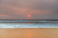 Sunrise Seascape and Hazy Sky with High Clouds (Merrillie) Tags: daybreak smokehaze centralcoast nature water morning sea hazy waves landscape newsouthwales rocks earlymorning nsw australia sunrise ocean waterscape clouds macmasters coastal macmastersbeach outdoors seascape dawn coast cloudy sky
