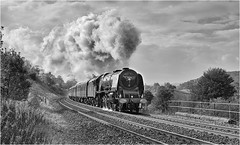 46233. 'Duchess' on the S&C. (Alan Burkwood) Tags: sc langcliffe lms stanier coronationpacific 46233 duchessofsutherland thethamesclydeexpress steam locomotive passenger train silverefexpro2