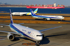 Heavies... (Manuel Negrerie) Tags: ana haneda airport boat containers transportation aviation transport planes airdo nh 777300 767300 boeing aircraft canon spotting sightseeing moment japan photography jetliners airliners