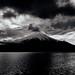 Lake Yamanaka (tenugui) Tags: fujisan mtfuji yamanashi landscape lake bw clouds blackandwhite 富士山