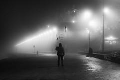 Jongleur (sylvie.trajan) Tags: garonne docks toulouse lifeisstreet life story monochrome bnw blackandwhite noiretblanc people jongleur jongler fog night streetphotography streetshots street
