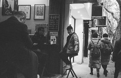 Streetside Bar Smokers (Taomeister) Tags: neopan400 rollei35s sonnart40mmf28 china