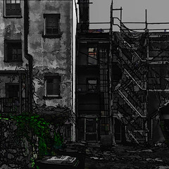 construction site (j.p.yef) Tags: peterfey jpyef yef digitalart photomanipulation selectivecolor green square leaves houses greymonochrome
