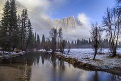 Merced River and Yosemite Falls (phonnick) Tags: canon eosr yosemite yosemitenationalpark nationalpark california merced river water landscape mountains clouds fog valley trees winter snow mirrorless