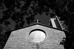 Little Chapel in-the-Woods (Zack Huggins) Tags: ricohgrii vscofilm pack06 dentontx church chapel wedding weddingphotography contrast bw mono monochrome weddingbells ceremony window twu texaswomensuniversity leaves tree brick architecture rnifilms pointandshoot compact digitalcompact advancedcompact raw wideangle