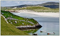 Calm! (john.methven) Tags: carnish uig lewis hebrides scotland island sea water bay boat boats green sand beach coast coastlinedyketravel solitude calm wilderness crofting