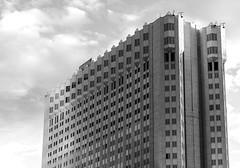 Castle in the Sky (Karen_Chappell) Tags: bw blackandwhite hotel architecture building lasvegas travel usa nevada city urban sky windows canonef24105mmf4lisusm lines geometric geometry grey greyscale monochrome