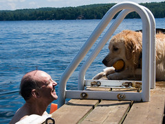 Derek Carroll (andyscamera) Tags: canada dad haliburtoncounty lakekennisis michaelsfamilyatthecottage ontario river scheurwatercarroll andyscamera cottage dock family lake swimming