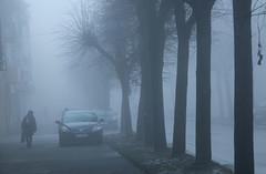 Foggy Morning-3 (Pavlo Kuzyk) Tags: fog mist trees car woman winter city canon