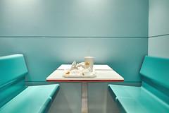 Last Meal II (polybazze) Tags: fuji fujifilm fujifilmx100t malmö sweden restaurant hamburger desolate green blue empty simplistic minimalistic