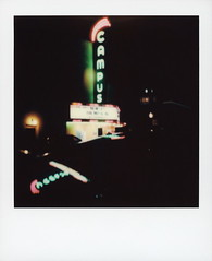 Campus Theatre Neon 1 (tobysx70) Tags: polaroid originals color film for itype cameras beta 1901 pioneer member test slr680 campus theatre neon west hickory street denton texas tx sign lit illuminated glow buzzing lights night nocturnal reflection marquee pink green toby hancock photography
