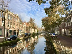 Three towers (sander_sloots) Tags: delft town city stad view canal gracht houses architecture trees bomen water stadsgezicht cars autos clouds wolken dutch architectuur gebouwen buildings autumn herfst iphone iphone6 fotografie photography phone picture