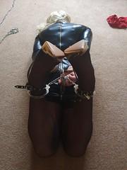 Hogtied on Master's floor (candy.fag) Tags: hogtie bdsm bondage handcuffs ankle cuffs transvestite sissy slave