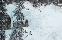 Climbing the Blue Ice in Johnston Canyon (Frame To Frame - Bob and Jean) Tags: ice climbers winter banff johnston canyon snow