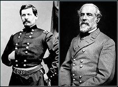 Heads of the Union and Confederate Armies at the Battle of Antietam General George B. McClellan-left, General Robert E. Lee-right (DREADNOUGHT2003) Tags: matthewbrady alexandergardner antietam sharpsburg civilwar union confederate csa usa maryland virginia war