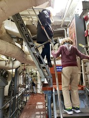In The USS Yorktown Engine Room (Joe Shlabotnik) Tags: stairs december2019 everett charleston ussyorktown galaxys9 patriotspoint southcarolina sue cameraphone proudparents 2019 aircraftcarrier