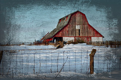 Fency Barn (TicKavich) Tags: barn building architecture farm rural fence snow winter textures wire wood machinery desolate