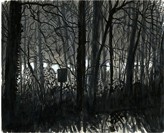 Sous-Bois (sylvain.cnudde) Tags: bois meudon croquis sketch nuit nightsketch night dessin drawing sketchbook light lightandshadow moleskine