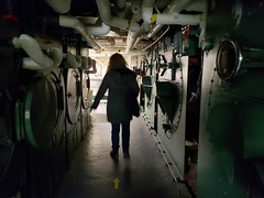 Sue In The USS Yorktown Laundry Room (Joe Shlabotnik) Tags: shadow december2019 charleston silhouette galaxys9 southcarolina ussyorktown justsue sue cameraphone patriotspoint 2019 aircraftcarrier