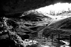 Cueva del Milodon (halifaxlight) Tags: chile patagonia cuevadelmilodon cave giantgrondsloth monument entrance people bw milodondarwini trees statue rocks archeologicalsite fence path