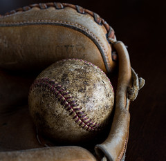 Only 4 weeks until Spring Training (f8shutterbug) Tags: idb closeup 1120 120in2020 baseball catchersmitt stitches leather tecture curves starttheballrolling