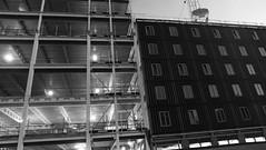 Finished and Unfinished (byronv2) Tags: edinburgh edimbourg scotland blackandwhite blackwhite bw monochrome architecture building construction engineering modernarchitecture contemporaryarchitecture fountainbridge tollcross edinburghbynight night nuit nacht dusk