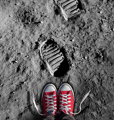 One Step for Man... (YetAnotherLisa) Tags: moon nasa converse lunar chucks footprint atmyfeet astraunot lookingdown thelightbulbproject thelightbulbprojectexploration