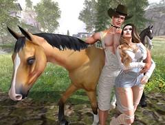 Along The Country Roads 2/2 (Scarlett Saphira) Tags: sl secondlife second life game farm horse ride couple pose country countryside road nature bento avatar catwa head magy daniel maitreya belleza jake mesh body animal