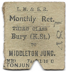 Bury - Middleton Jct (R~P~M) Tags: train railway ticket england uk unitedkingdom greatbritain lms londonmidlandscottishrailway bury middletonjunction buryknowsleystreet