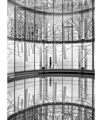Illusion (Holger Glaab) Tags: schirn museum architecture modernarchitecture photography person travel city urban reflection bnw blackandwhite blackwhite