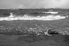 Turbulent/Calm 1/2 (jbrad1134) Tags: nature blackandwhite bw xt3 fujifilm fuji samd rock stormywater landscape waves water storm mood lake beach laketahoe