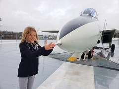 Violet And The F-14 (Joe Shlabotnik) Tags: grumman airplane december2019 plane justviolet charleston f14a ussyorktown galaxys9 patriotspoint southcarolina tomcat cameraphone violet 2019 f14 aircraftcarrier
