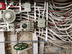 Pipes And Conduits In The USS Yorktown Engine Room (Joe Shlabotnik) Tags: charleston ussyorktown 2019 december2019 galaxys9 aircraftcarrier patriotspoint cameraphone southcarolina