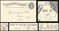 British Columbia / B.C. Postal History - 8 / 9 March 1897 - SANDON, B.C. (split ring / broken circle cancel / postmark) to Nelson, B.C. (Treasures from the Past) Tags: circulardatestamp postalwayoffice postmaster postoffice britishcolumbia postalhistory bc county splitring brokencircle splitcircle postmark cancel cancellation marking son mail letter stamp canada britishcolumbiapostalhistory canadapost sandon nelson henryfrancismytton bankmanager violetstrickland bankofmontreal bankofbritishcolumbia