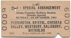 Mendip Special (R~P~M) Tags: train railway ticket england uk unitedkingdom greatbritain britishrailways westernregion railtour special