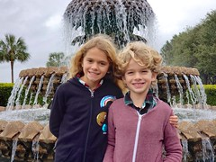 The Kids By The Pineapple Fountain (Joe Shlabotnik) Tags: fountain charleston galaxys9 december2019 2019 violet everett cameraphone southcarolina