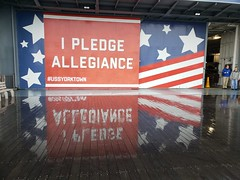 I Pledge Allegiance (Joe Shlabotnik) Tags: cameraphone charleston ussyorktown galaxys9 december2019 2019 aircraftcarrier flag patriotspoint usa southcarolina