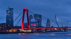 Rotterdams Brücken (GerhardQ) Tags: rotterdam brücke willemsbrug erasmusbrug nightshot bynight longexposure holland netherlands lumixg9 leica1260 microfourthirds citylights city skyscraper rivermaas