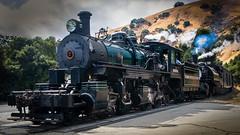 Double Header at Brightside Crossing (CDay DaytimeStudios w /1 Million views) Tags: cloudysky railroading landscape sunol steamengines railequipment nilesca locomotive hills california hillside nilescanyonrailroad