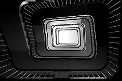 Black/white stripes (Elbmaedchen) Tags: staircase treppenhaus architektur architecture escaliers escaleras interior geometrie upanddownstairs roundandround stairwell steps stufen stairs unterwegsmitmichaelhamburg schwarzweis blackandwhite lines