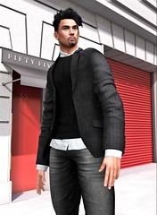 FIFTY FIVE (Geoffrey Firehawk MR V♛ Belgium 2014) Tags: sl secondlife event tmd themensdpt toritorricelli jacket handsome gorgeous man male guy boy mesh avatar fashion fashionpixel model modeling mode mannequin malefashion menswear men kustom9 backdrop foxcity