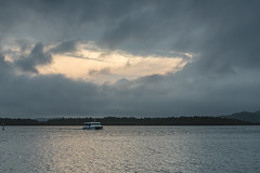 Rainy Day Sunrise over the Bay (Merrillie) Tags: daybreak woywoy landscape boat ferry nature water cloudy hazy overcast foreshore bay newsouthwales clouds earlymorning morning brisbanewater haze sky nsw australia sunrise coastal dawn outdoors waterscape rain centralcoast rainyday saratogaferry