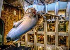 Harrier Jet in London, England (` Toshio ') Tags: toshio london england unitedkingdom greatbritain harrierjet jet harrier plan airplane flying imperialwarmuseum museum war europe fujixt2 xt2 interior